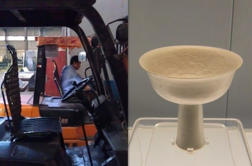A factory worker who is operating forklift truck in Xinyuan Wang's fieldsite, and a 12-13th century Jingdezhen ceramics in the Shanghai Museum (photo by Xinyuan Wang)
