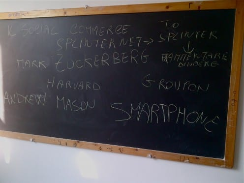 Blackboard after a class of communication in one of the local High Schools. Photographed by Razvan Nicolescu.