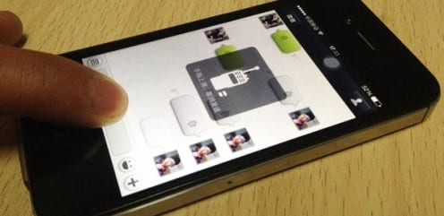 A WeChat user recording a voice message to send to another user (Photo by Tom McDonald)