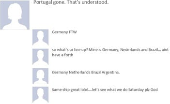 World Cup banter on Facebook