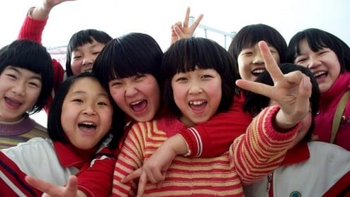 Group of Chinese schoolchildren