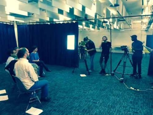 The project team filming a video for our online course