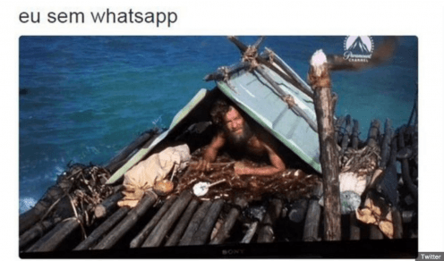 The text above the image reads: 'me without WhatsApp'.