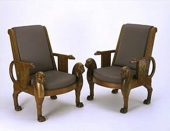 Mahogany is mainly found in the Americas and West Indies islands such as the Bahamas. In making The Denon Chair, Jacob-Desmalter used mahogany to create Egyptian style furniture, which became hugely popular during the Napoleonic wars. Henry and Charles Russell were first introduced to this style in India and then continued their interest in it when back in Britain.