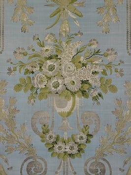 Furnishing fabric Lyon, France, c.1797-8, Pernon and Dugourc, Woven silk and silver, T.69-1951. Courtesy of the Victoria and Albert Museum, London.