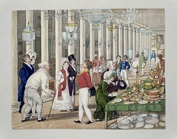 A gendered division of labour appears to have reigned in Calcutta's distinctive European consumer markets. Auction houses appear to have been male domains in which Indian men consumed alongside European men. European women, in contrast, were proscribed from Calcutta's auction houses in the nineteenth century. Sir Charles D'Oyly's 1828 depiction of an elite emporium underscored both the conspicuous presence of women and the conspicuous absence of propertied Indian consumers.