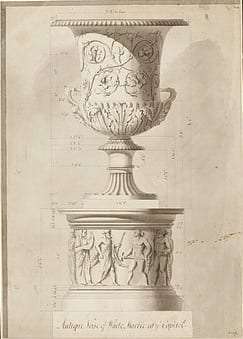 Design. England, C18th, William Chambers. Pen and ink, pencil and grey washes, 8169. Courtesy of the Victoria and Albert Museum, London. Here is a similar design to the one produced for the vases at Wilton House, perhaps this is what Charles referred to when describing his vases as 'Wilton's vases'.