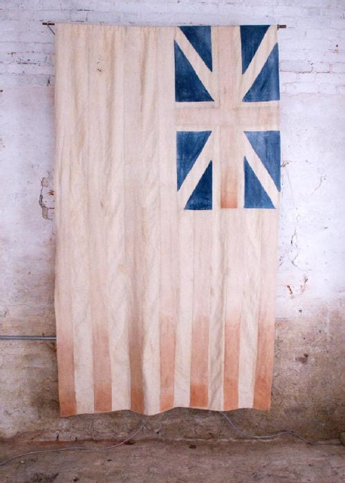 Stain by Kathy Taylor - Indian cotton, stained with tea, indigo and dye extracted from red dyewood/red sanders dust from the Valentine cargo. The flag design is based on the British East India Company Flag of 1707-1801.