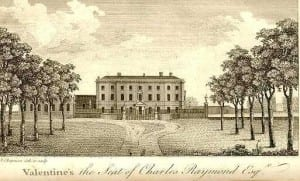 Valentines featured in A New and Complete History of Essex by a Gentleman (1771). The image of Valentines it included is featured here (above) to show the position of the Orangery (to the left of the house) and the prominence of the gardens and grounds. The image below right shows the dairy wing, converted from the orangery in around 1808.