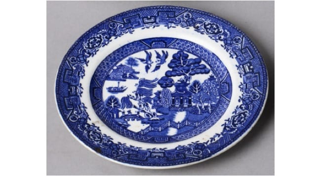 Willow Pattern Plate Earthenware Inventory Number 929558 9 Dunham Mey National Trust C
