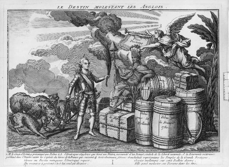 Le destin molestant les Anglais, 1780.