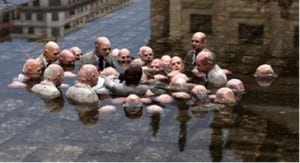 A sculpture by Spanish street artist Isaac Cordal dubbed 'Politicians discussing global warming' by social media.