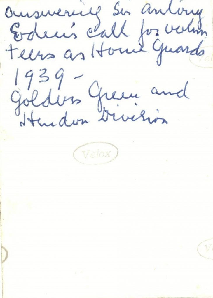 NH/10/7 Reverse of photo with note by Grace Hans