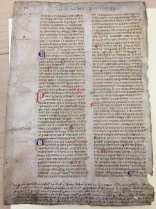 Part of MS Frag/Lat/7, a twelfth century manuscript fragment