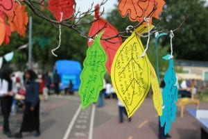 Pupils, parents and teachers added their memories on leaves.