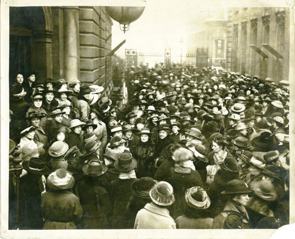 Demonstration by the London Unit against the allocation of the Fisher Grant, 1918
