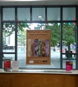 Posters for the exhibition in pride of place at Stratford Library