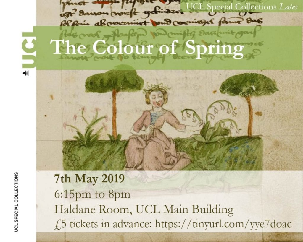 Flyer for UCL Special Collections Late event, The Colour of Spring
