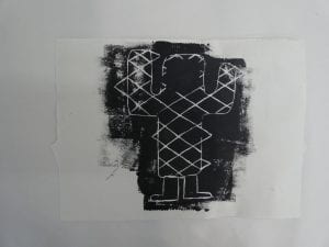 A black and white lino cut depicting a personified cactus with feet and a geometric criss-cross pattern across its body.
