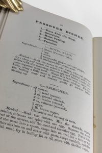 A picture of the section containing Passover recipes