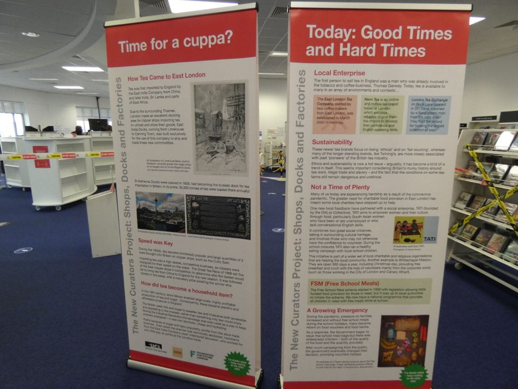 Two colourful pop-up banners stand in Stratford library.
