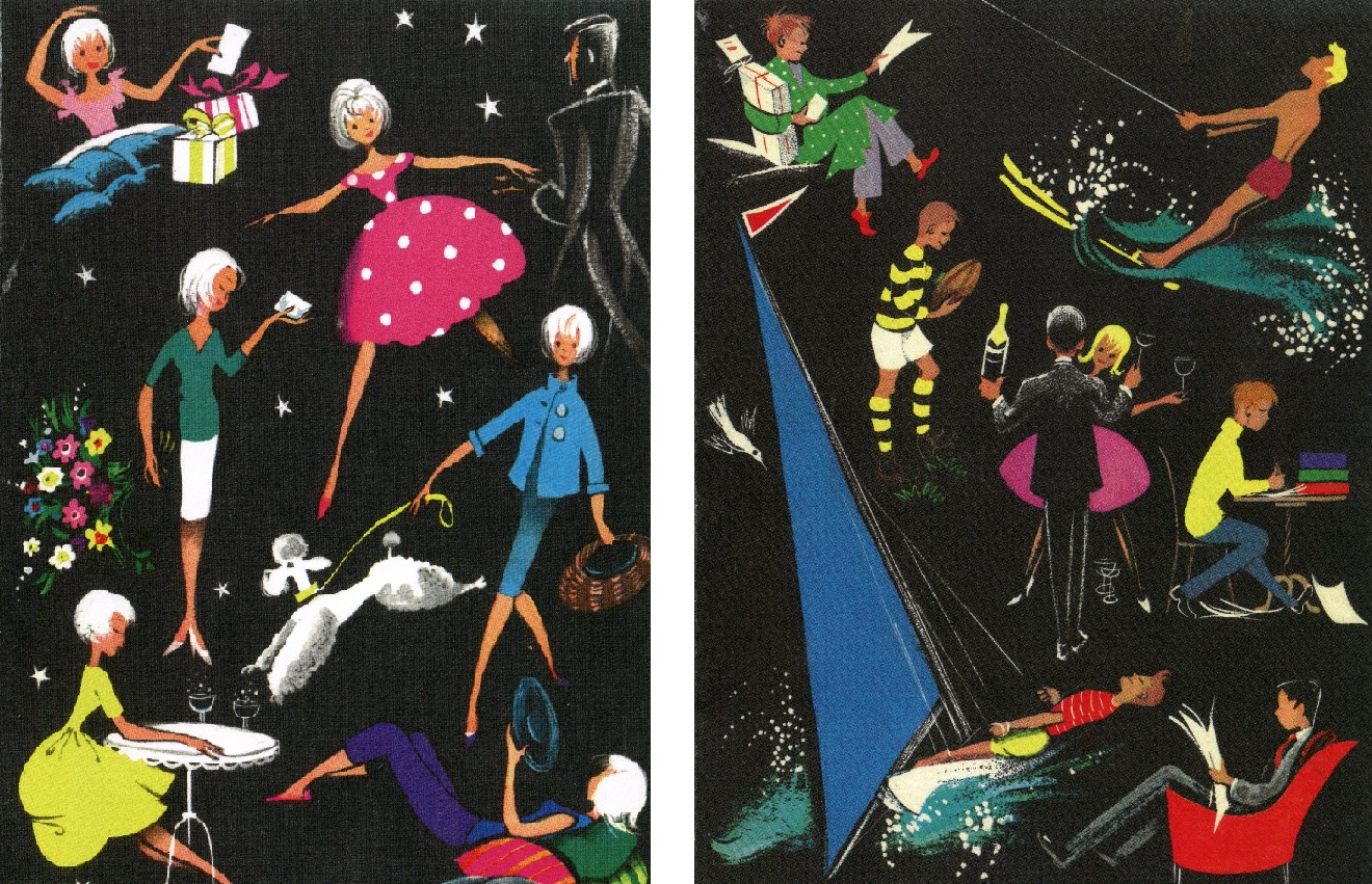 The male and female designs for the 1962 NSHD birthday cards.