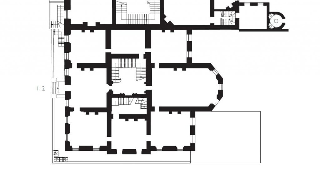 Detail from plan of Cavendish Square, showing Nos 1-2