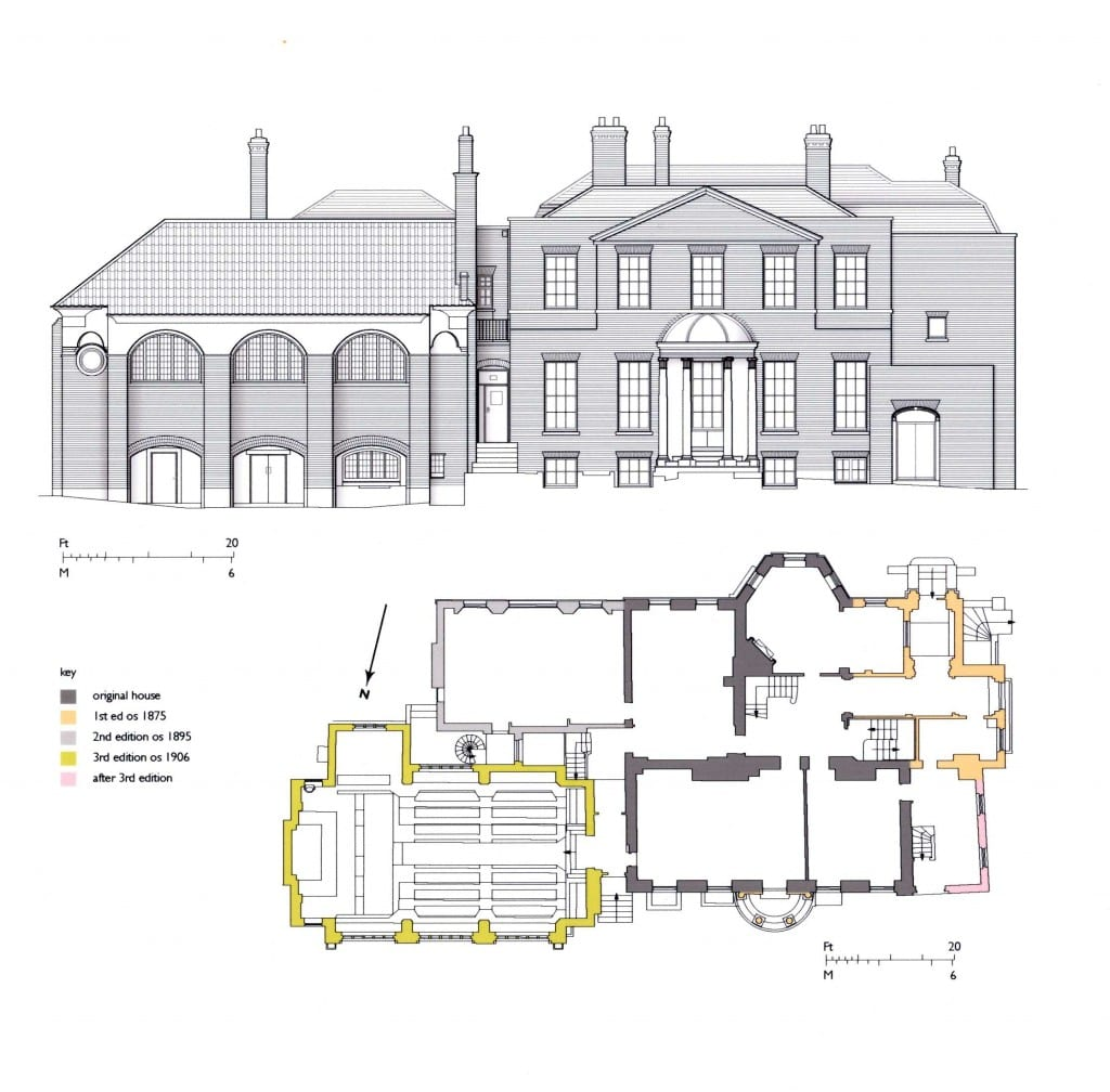 Elevation drawing and phase plan of Gilmore House, Battersea
