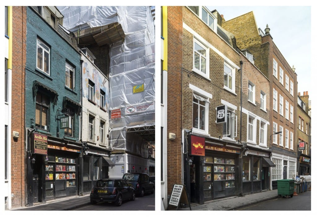 Rapid change on Hanway Street, showing Nos 22 and 20 in 2014 (left) and 2013 (right) (© Historic England, Chris Redgrave)