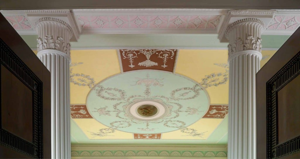 A view of the ceiling in the ground floor reception room at Chandos House (© Historic England, Chris Redgrave)
