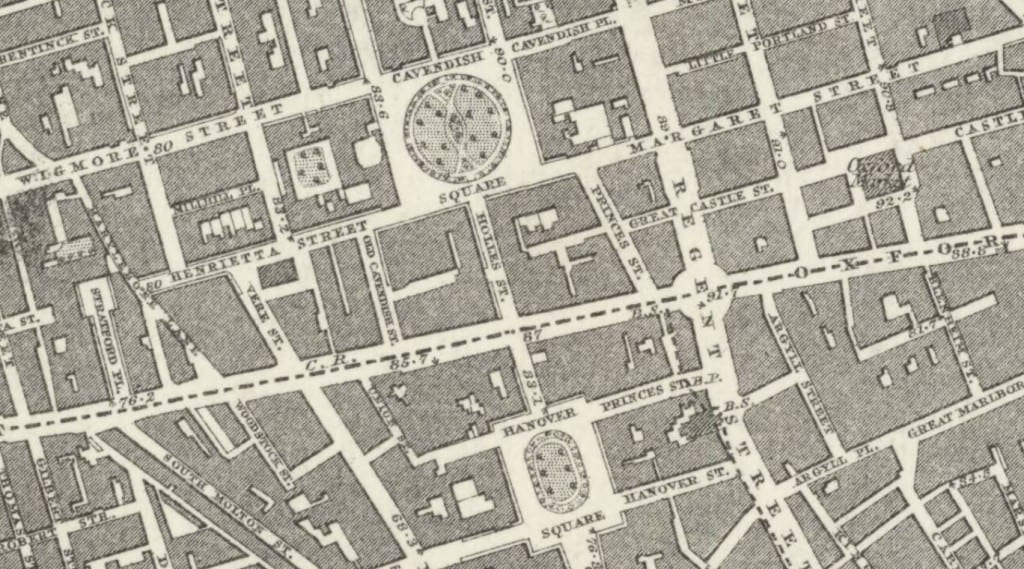 Extract from the Ordnance Survey First Edition map of Middlesex XVII, showing Cavendish Square and Hanover Square c. 1870 (Reproduced by permission of the National Library of Scotland)