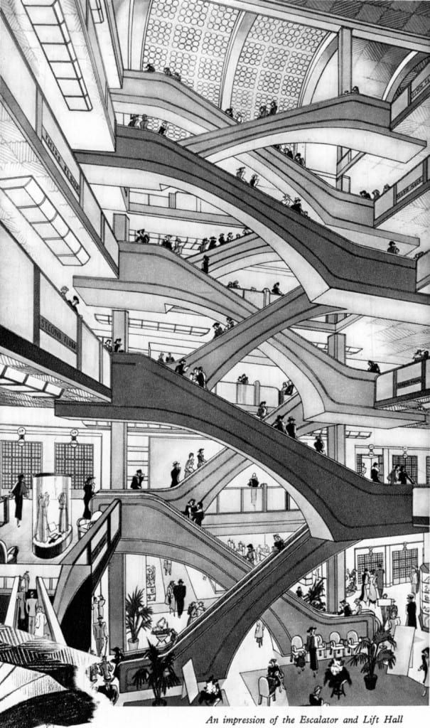 Escalator Hall, D. H. Evans, from the 1937 Coronation Brochure