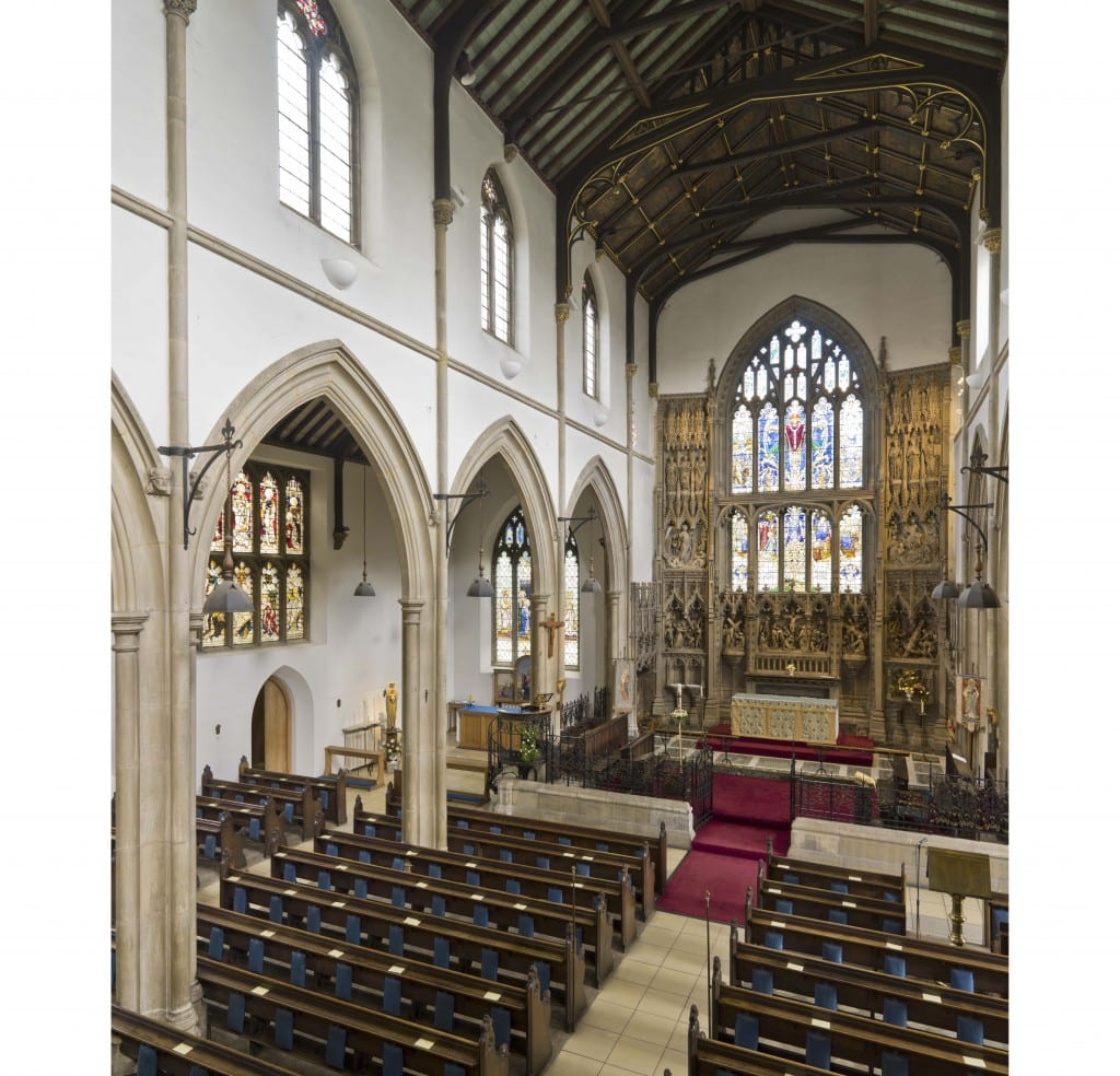 St Andrews Church, Kingsbury,Greater London, Interior from south west in gallery. Taken for the Survey of London.