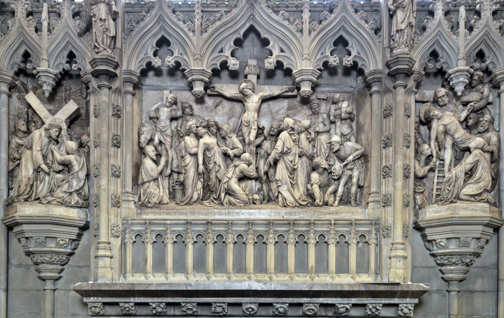 Detail of the reredos by G. E. Street (© Historic England, Chris Redgrave).