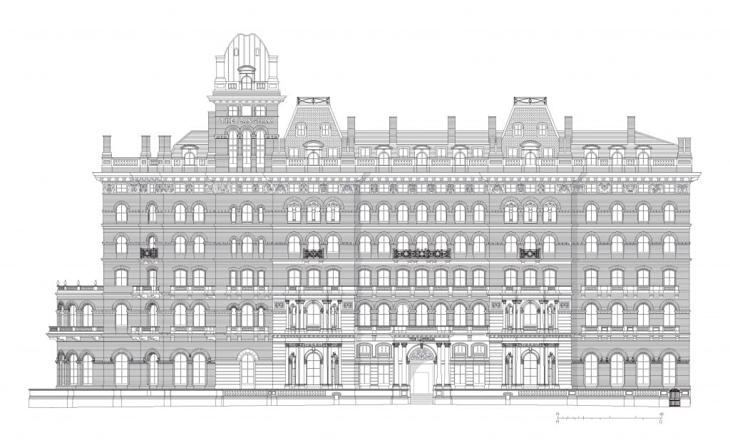 The Langham Hotel, drawn from measured survey. Please click to download a high resolution version of the drawing (© Survey of London, Helen Jones with Andy Crispe).