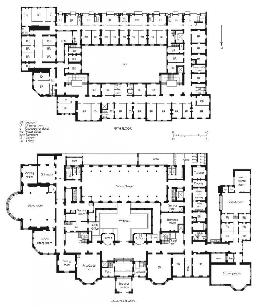 Plans of the ground floor and first floor of the Langham Hotel (© Survey of London, Helen Jones and Andy Crispe)