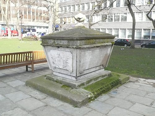 The Maddock family's late-Georgian chest tomb is a reminder that the site was a churchyard (Survey of London)