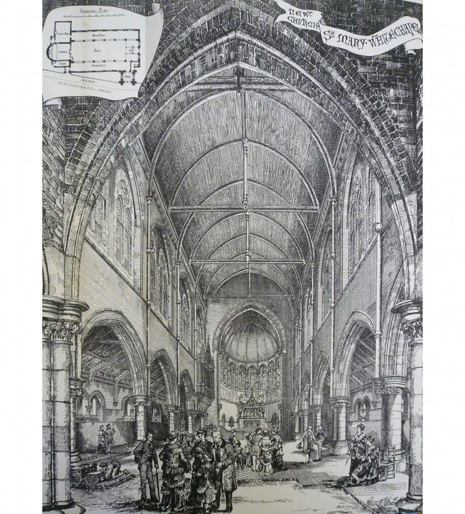 View of the interior of the 1876 church, looking towards the chancel (Building News, 8 September 1876).