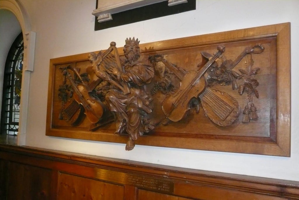 A few fragments from the churches survive, including this carved wood panel of King David with music instruments that was made to grace the front of an organ gallery in 1713-15, now close by in St Botolph Aldgate