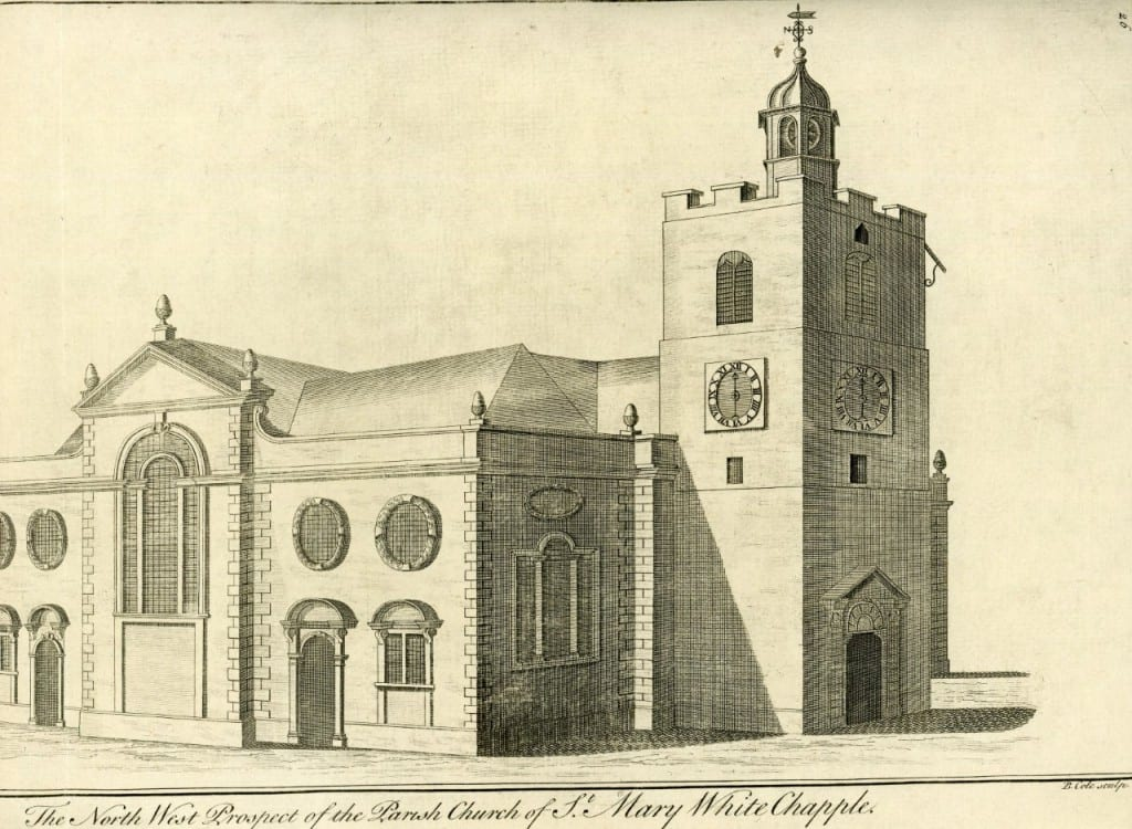 View of the 1670s church (Reproduced by kind permission of Tower Hamlets Local History Library and Archives).