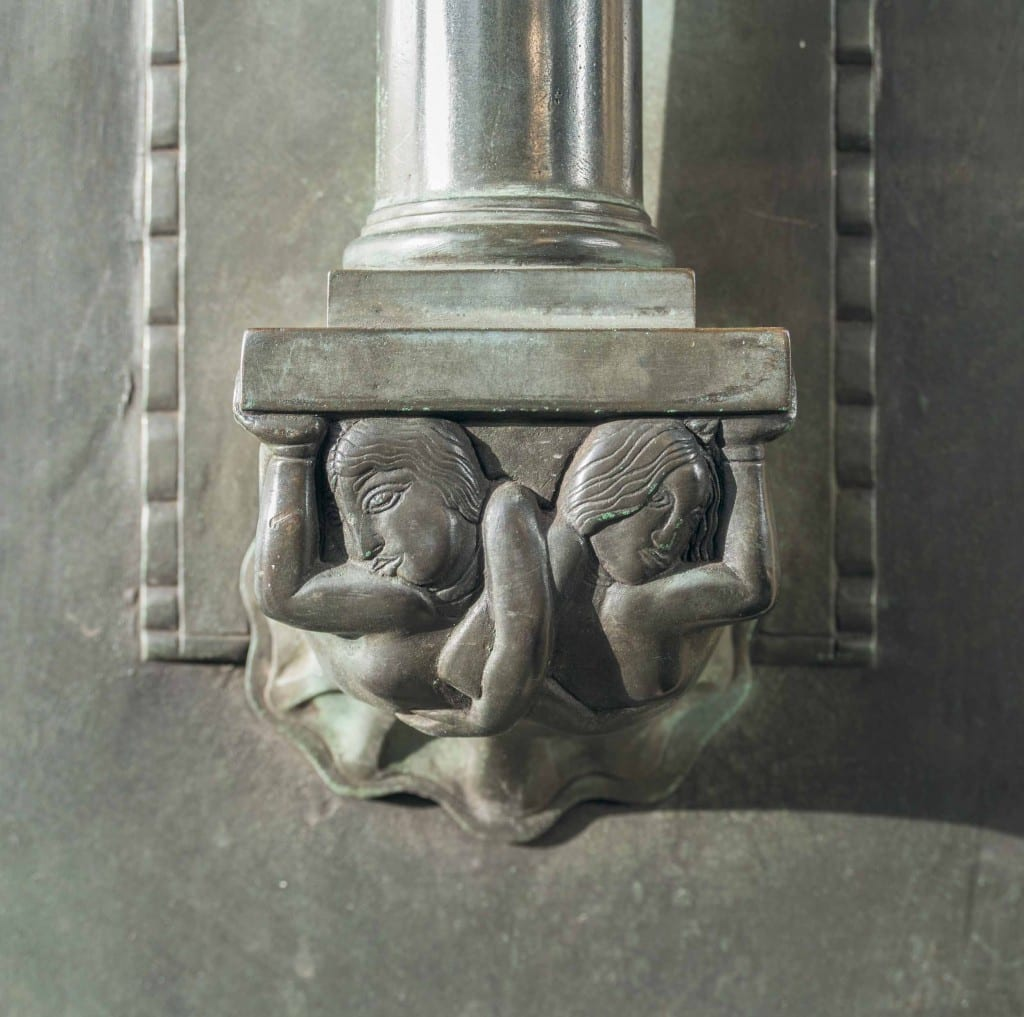Howard de Walden Project. Royal Institute of British Architects, 66 Portland Place, Marylebone, Greater London. Detail of bronze entrance door.