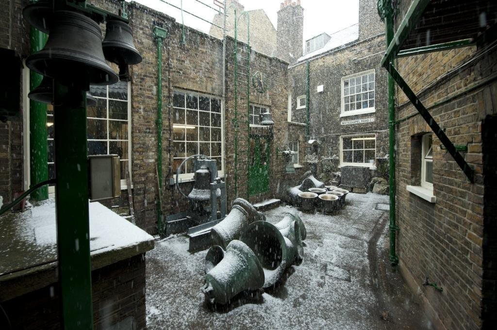 Project: Site: Whitechapel Bell Foundry, 32-34 Whitechapel Road, Tower Hamlets, London. Exerior, bells in courtyard.