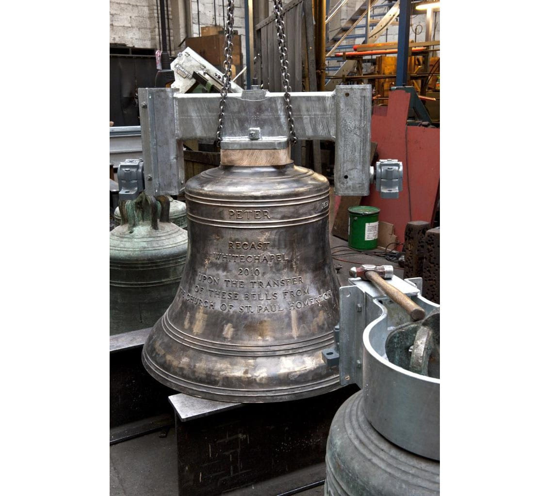 Project: Site: Whitechapel Bell Foundry, 32-34 Whitechapel Road, Tower Hamlets, London. Interior, bell store, recently cast bells.