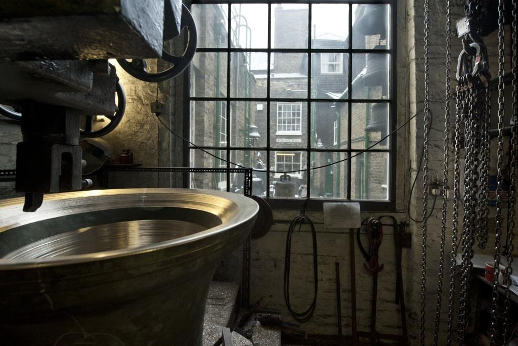 Project: Site: Whitechapel Bell Foundry, 32-34 Whitechapel Road, Tower Hamlets, London. Interior, bell tuning room.