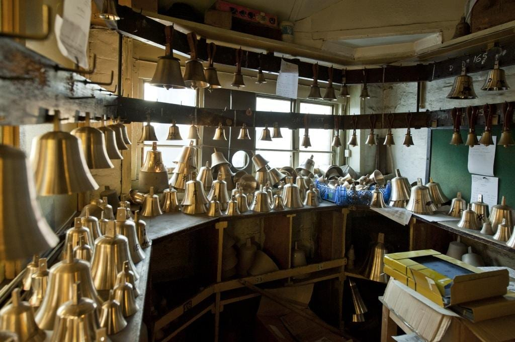 Project: Site: Whitechapel Bell Foundry, 32-34 Whitechapel Road, Tower Hamlets, London. Interior, hand bell blanks.