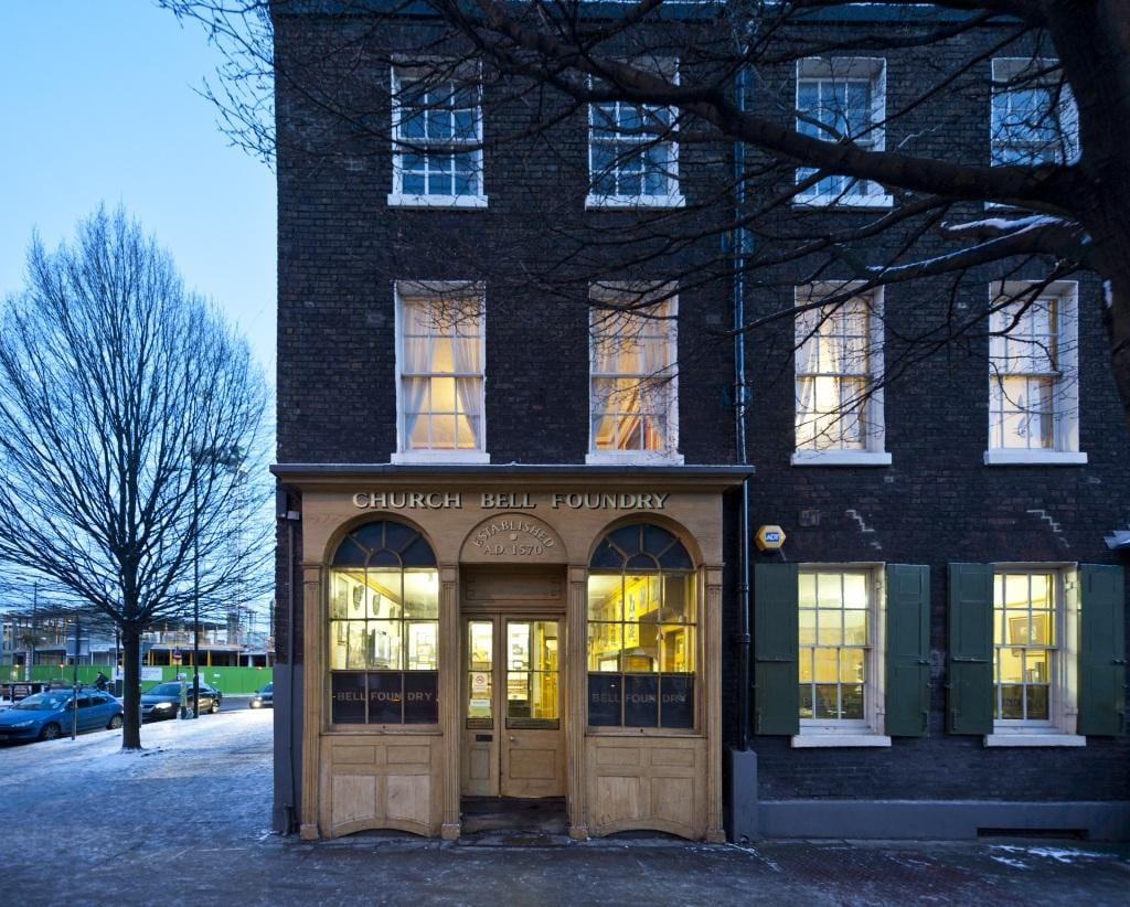 Project: Site: Whitechapel Bell Foundry, 32-34 Whitechapel Road, Tower Hamlets, London. Exterior, view fron north.