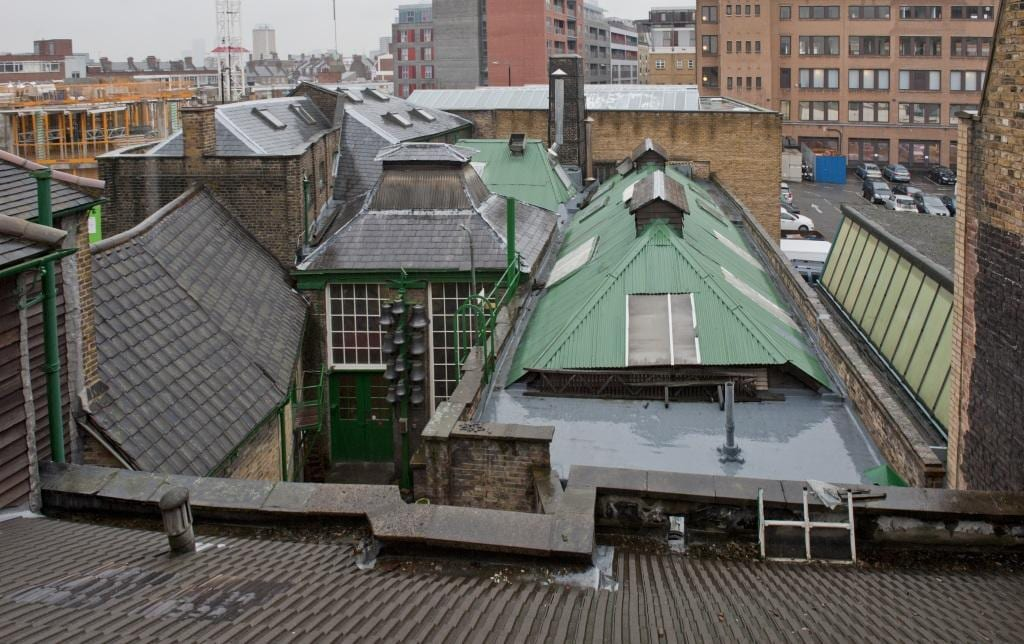 Project: Hidden London Site: Whitechapel Bell Foundry, 32-34 Whitechapel Road, Tower Hamlets, London. Exterior, roofscape over house.