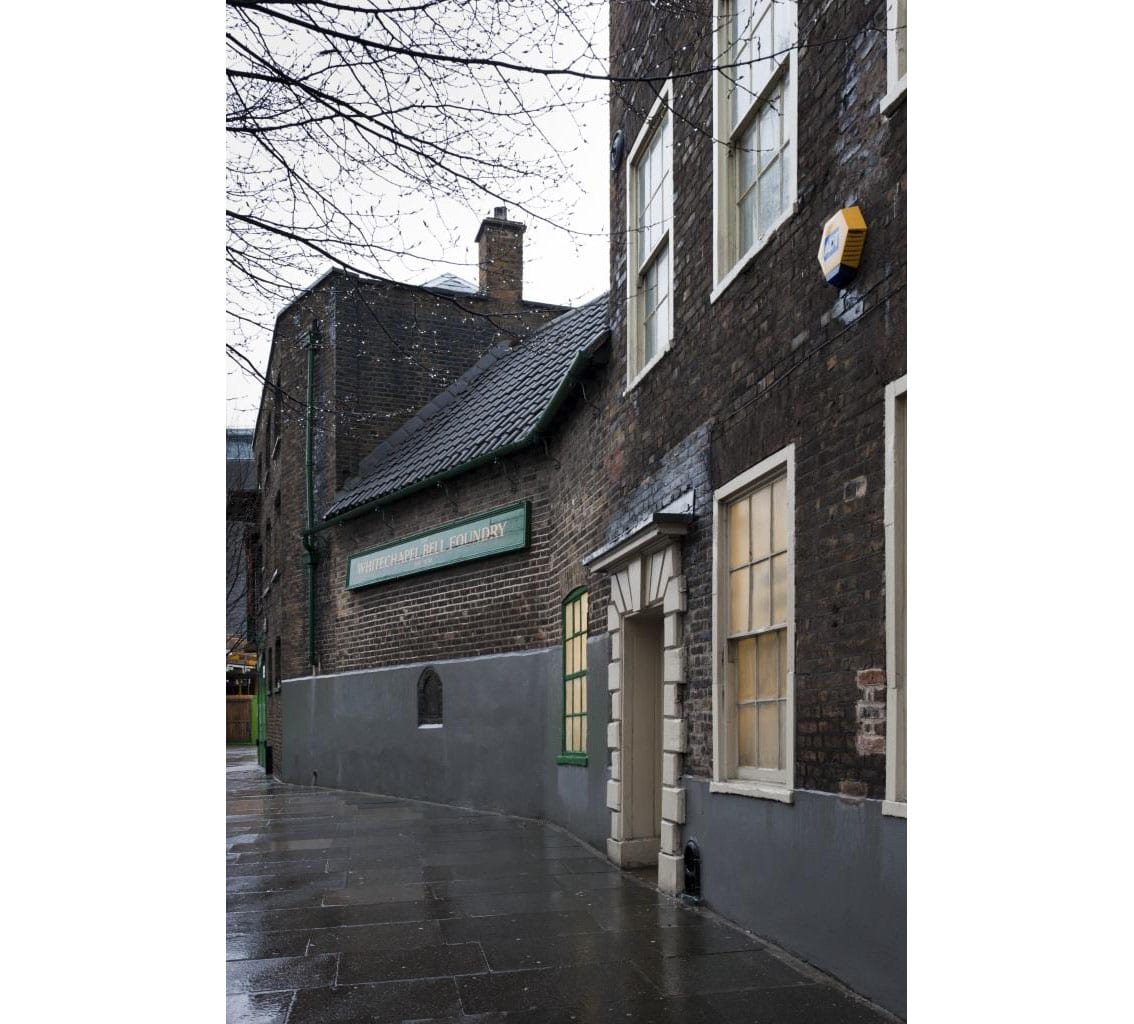 Project: Hidden London Site: Whitechapel Bell Foundry, 32-34 Whitechapel Road, Tower Hamlets, London. Etxrior, side elevation to Plumbers Row.