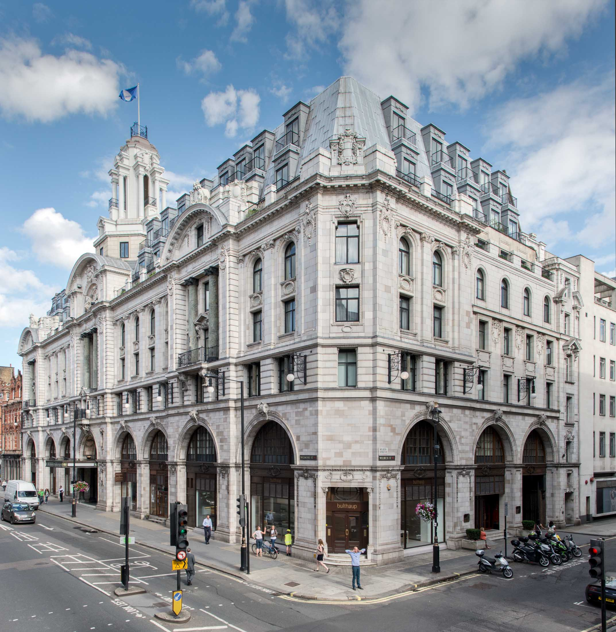 Former Debenham and Freebody department store, Wigmore Street, Marylebone, Greater London. View from north west.