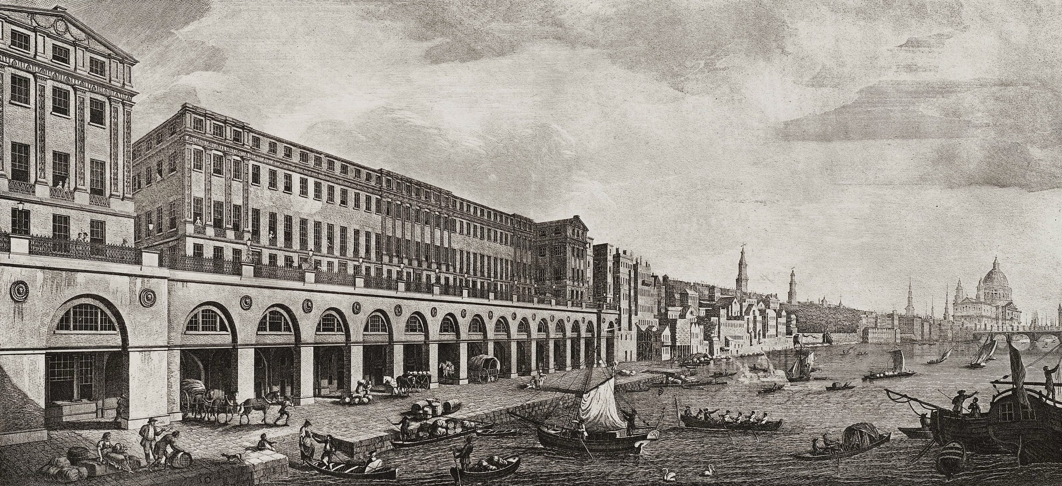 1 The Adelphi and the Thames riverside, looking east. Engraving by Benedetto Pastorini, reproduced in the third (posthumous) volume of the Adam brothers' Works in Architecture (1822)